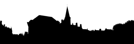 flemish: Medieval town of Bruges skyline isolated on white Stock Photo