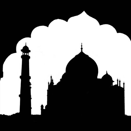 agra: Isolated travel landmarks. Silhouette of Taj Mahal on white with arch, Agra, Uttah Pradesh, India