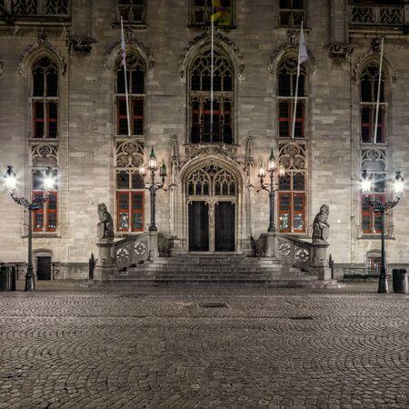 belfort: Night view of Bruges Belfort main facade, Grote Markt square, old town of  Belgium
