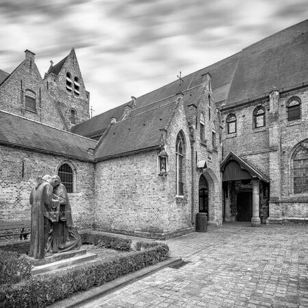 memling: Monochrome shot. Bruges complex of the medieval St. Johns hospital, now Memling museum Stock Photo