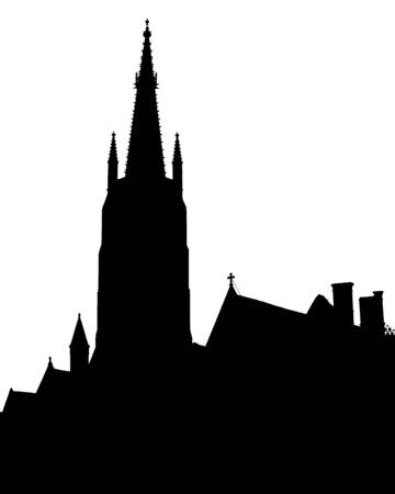 memling: Medieval town of Bruges skyline isolated on white Stock Photo