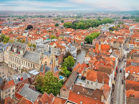 belfort: Panorama of Bruges from Belfort tower. Traditional medieval red tiles architecture, Belgium Stock Photo