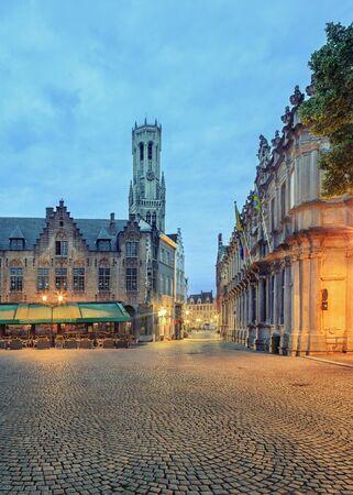 belfort: Night view of Bruges Belfort, Grote Markt square, old town of  Belgium