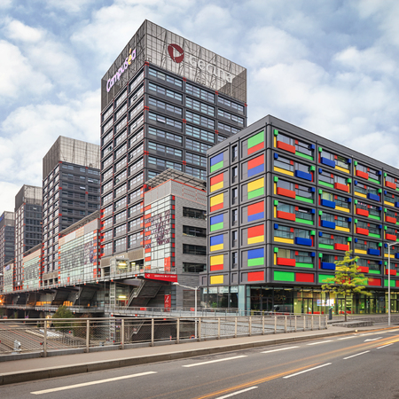 france station: Lille, France, Nord-Pas-de-Calais - August 15, 2015: modern student campus Lille-Pasteur Les Estudines near EuraLille and railaway station