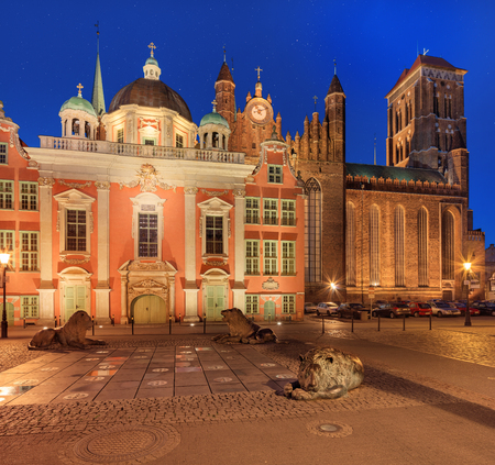 marys: Night view of Old Gdansk. Four Quarters Fountain, St. Marys Church and Royal Chapel