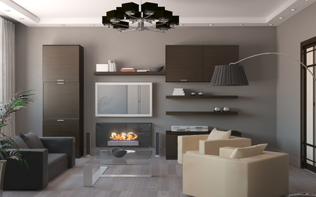 interior design living room: modern minimalistic apartment living room 3d rendering
