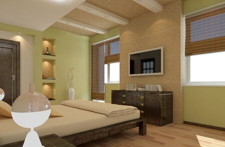 chineese: modern apartment bedroom 3d rendering in oriental style Stock Photo