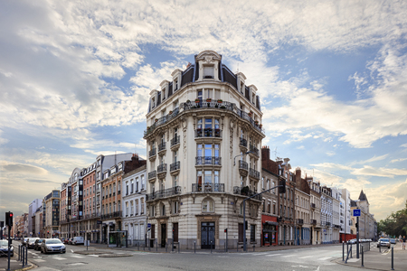 Old central Lille, Rue Solferino street with beautiful corner building
