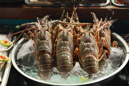 raw lobster: Traditional asian fish market stall full of fresh lobsters