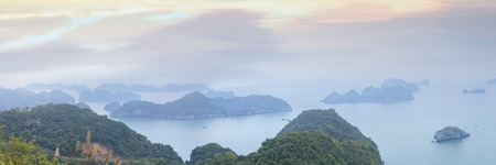 cat island: Panorama of Halong Bay from Cat Ba island viewpoint, Vietnam Stock Photo