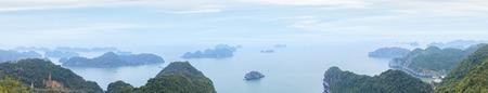 Panorama of Halong Bay from Cat Ba island viewpoint, Vietnam Stock Photo