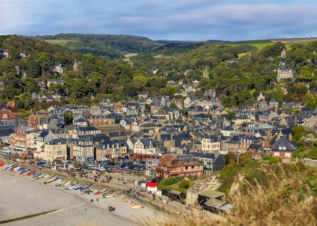 commune: Birds eye view of seaside village of Etretat in Normandy, France Stock Photo