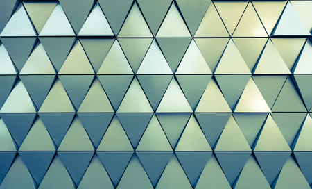 work material: Abstract close-up view of modern aluminum ventilated triangles on facade