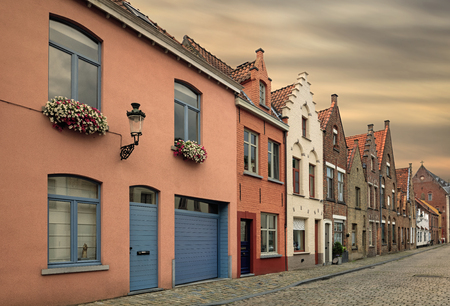 Traditional medieval red and white brickwall architecture of Bruges