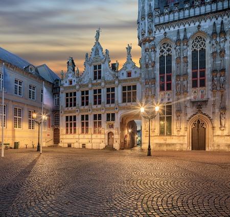 belfort: Belfort, Grote Markt square in old town of  Bruges at sunrise