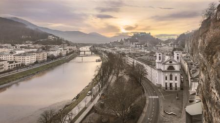 residenz: Panoramic view of Salzburg, Salzburger Land, Austria Stock Photo