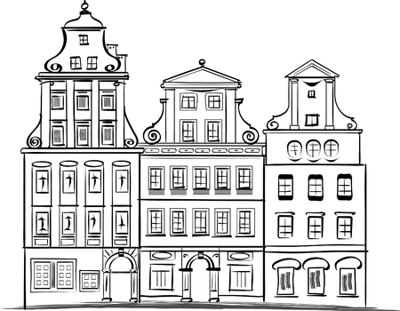 classicism: Wroclaw main square traditional architecture hand drawing