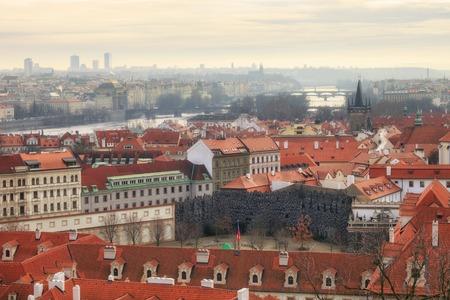 birds eye view: Birds eye view of Prague river bridge