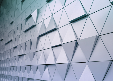Abstract close-up view of modern aluminum ventilated triangles on facade Stock Photo - 51510150