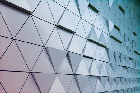 Abstract close-up view of modern aluminum ventilated triangles on facade Stock Photo - 51510152