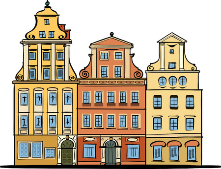 wroclaw: Wroclaw main square traditional architecture color hand drawing Illustration
