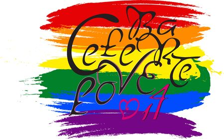 bisexual: Hand-sketched doodle calligraphic text on bisexual rainbow flag. Celebrate love 14 Illustration