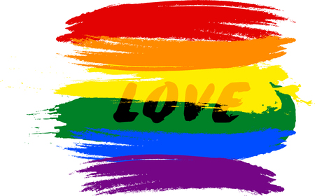 Brush stokes of bisexual rainbow flag with text saying Love Ilustrace