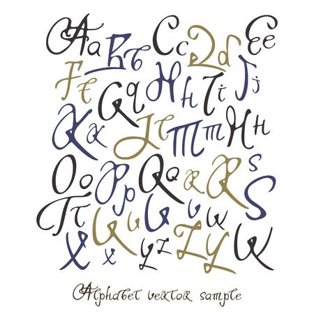 alphabetic: Handwritten calligraphy full latin alphabet with sample text words Illustration