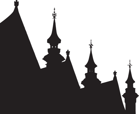 pitched roof: Medieval town of Bruges with pitched roofs skyline silhouette