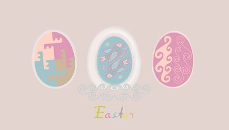 rebirth: Set of Easter eggs, tender color palet with text