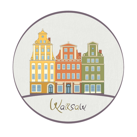 classicism: Old Warsaw traditional architecture flat drawing with hand-written text and background texture