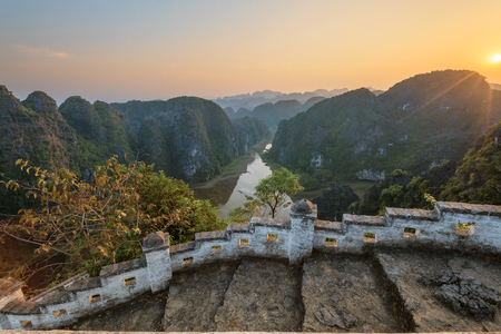 River in mountains valley, Ninh Binh province, Vietnam