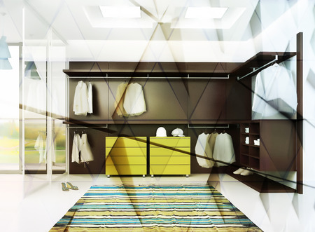 garderobe: 3d render of luxury apartment dressing room interior. Abstract double exposure