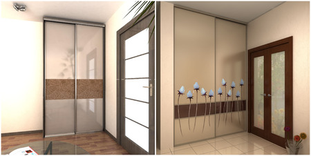 garderobe: 3d rendering of apartment lobby built-in garderobe