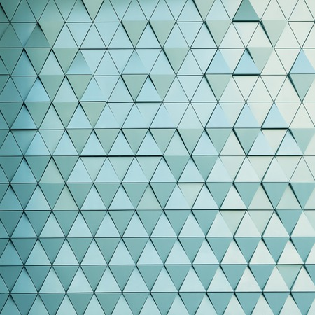 ventilated: Abstract close-up view of modern aluminum ventilated facade of triangles Stock Photo