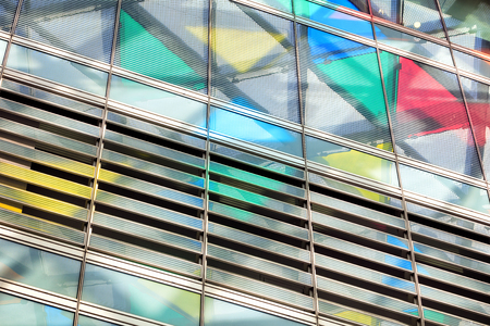 glazing: Abstract close-up view of modern glazing with colorful triangles 3d illustration