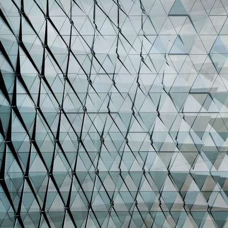 ventilated: Double exposure abstract close-up view of modern aluminum ventilated facade of triangles 3D illustration Stock Photo