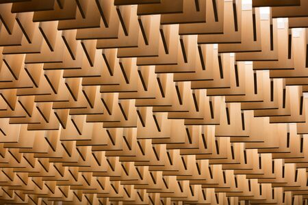 suspend: 3D illustration. Abstract geometrical architectural pattern of wooden planks Stock Photo
