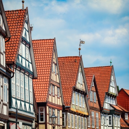 pitched: Traditional medieval architecture of Germany with timber framing