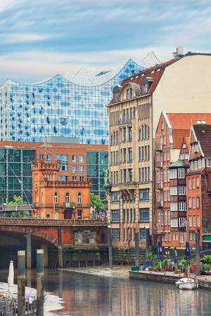 altstadt: Picturesque view of Altstadt of Hamburg, Deichstrasse with philharmonie on background