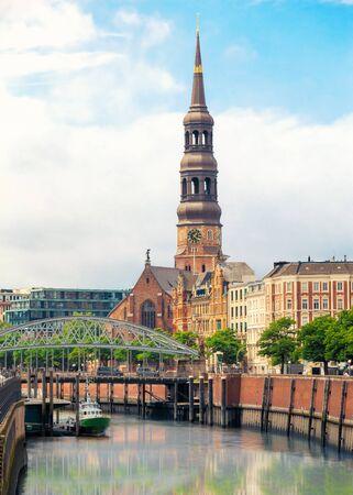 altstadt: St. Catherines Church belltower visible over Elbe river Zoll canal, Altstadt, Hamburg