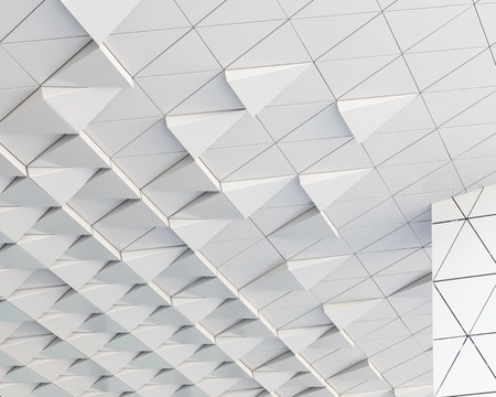 suspend: Abstract architectural 3D illustration of white triagles