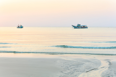 gentle dream vacation: Traditional fishing boats in the ocean, Asia Stock Photo
