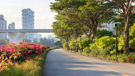 Sunny Marina Bay East park at sunset, Singapore Stock Photo