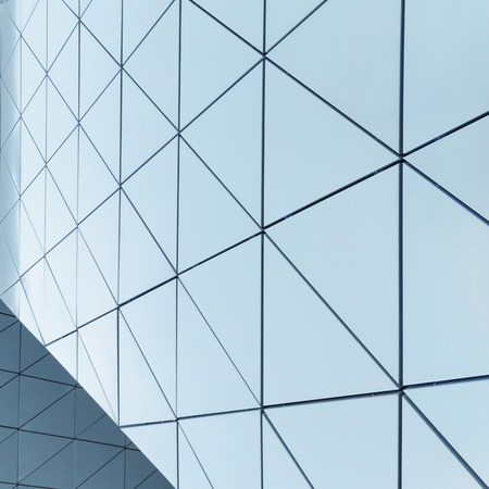 ventilated: Abstract 3D illustration of modern aluminum ventilated facade of triangles