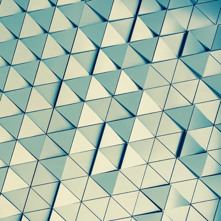 ventilated: Abstract 3d illustration of modern aluminum ventilated triangles on facade