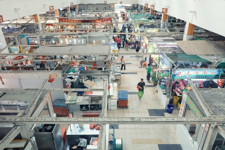 quater: Singapore, Republic of Singapore - May 5, 2016: Tekka centre market in Little India quater. panorama from above Editorial