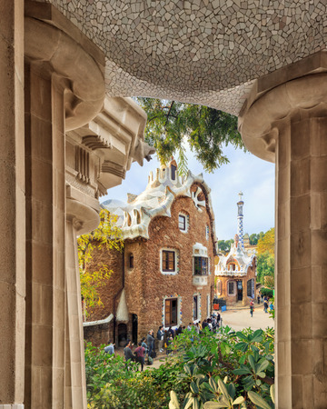colonnaded: Park Guell in Barcelona. View on entrance pavilion through doric order columned hall