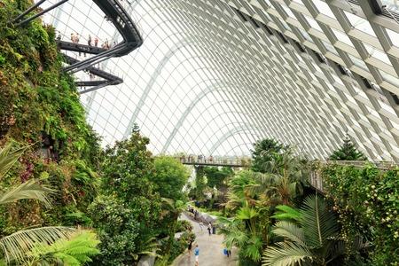 Singapore, Republic of Singapore - May 5, 2016: tourists exploring Cloud Garden conservatory greenhouse Editorial
