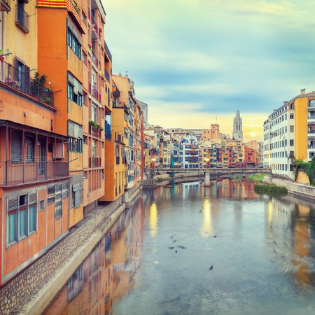 historical jewish quarter in Girona, view of the river at sunrise, Barcelona, Spain, Catalonia